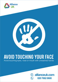 Alliance UK Covid-19 Avoid Touching Your Face Poster A4