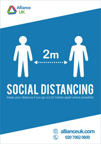 Alliance UK Covid-19 Social Distancing Poster A4