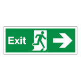 Sign Fire Exit Arrow Right 450x150mm Self-adhesive Vinyl Ref SP121SAV