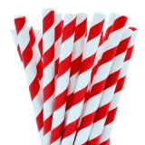 Paper Straight Cocktail Straw 140mm Red Stripe